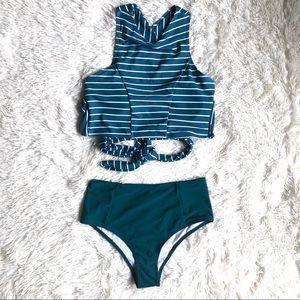 Other - High Waisted Cheeky Bottom High Neck Stripe Bikini